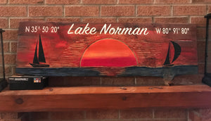 "Lake Norman Lake Sign ""Sunset on the Lake"""