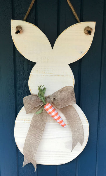 Shiplap Spring Bunny with Burlap bow and carrot