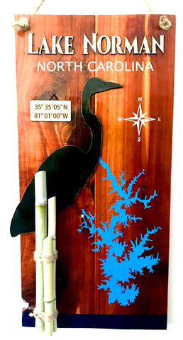 """Heron"" Laser Cut & Hand Painted Lake Sign"
