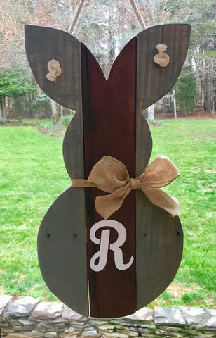 Stained Reclaimed Wood Bunny Door Hanger