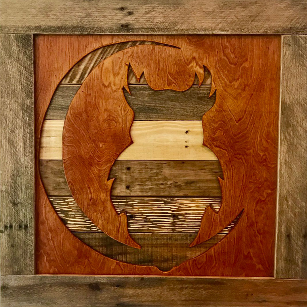 Owl and Moon Rustic Wall Art