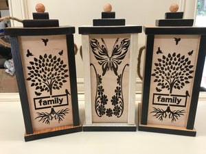 "14"" Wooden Lantern with Laser Cut Slide Out Panel"