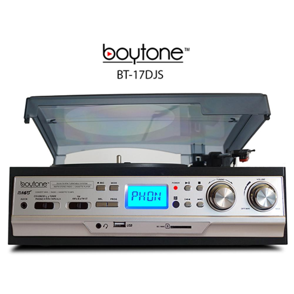 Boytone BT-17DJS 3-Speed Stereo Turntable 33-45-78 RPM with AM-FM Radio