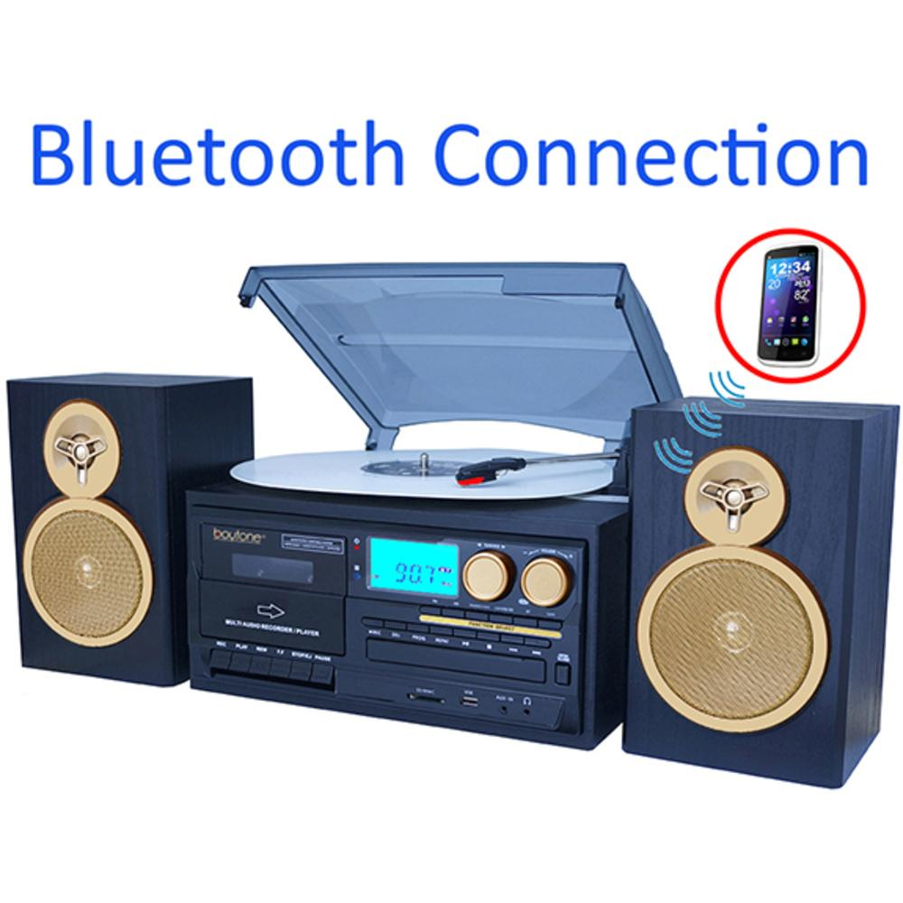 Boytone BT-28SPG 3-Speed Bluetooth Turntable System, Front Loading CD-MP3-Cassette P