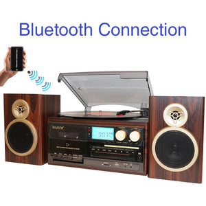 Boytone BT-28SPM, Bluetooth Classic Style Record Player Turntable with AM-FM Radio,