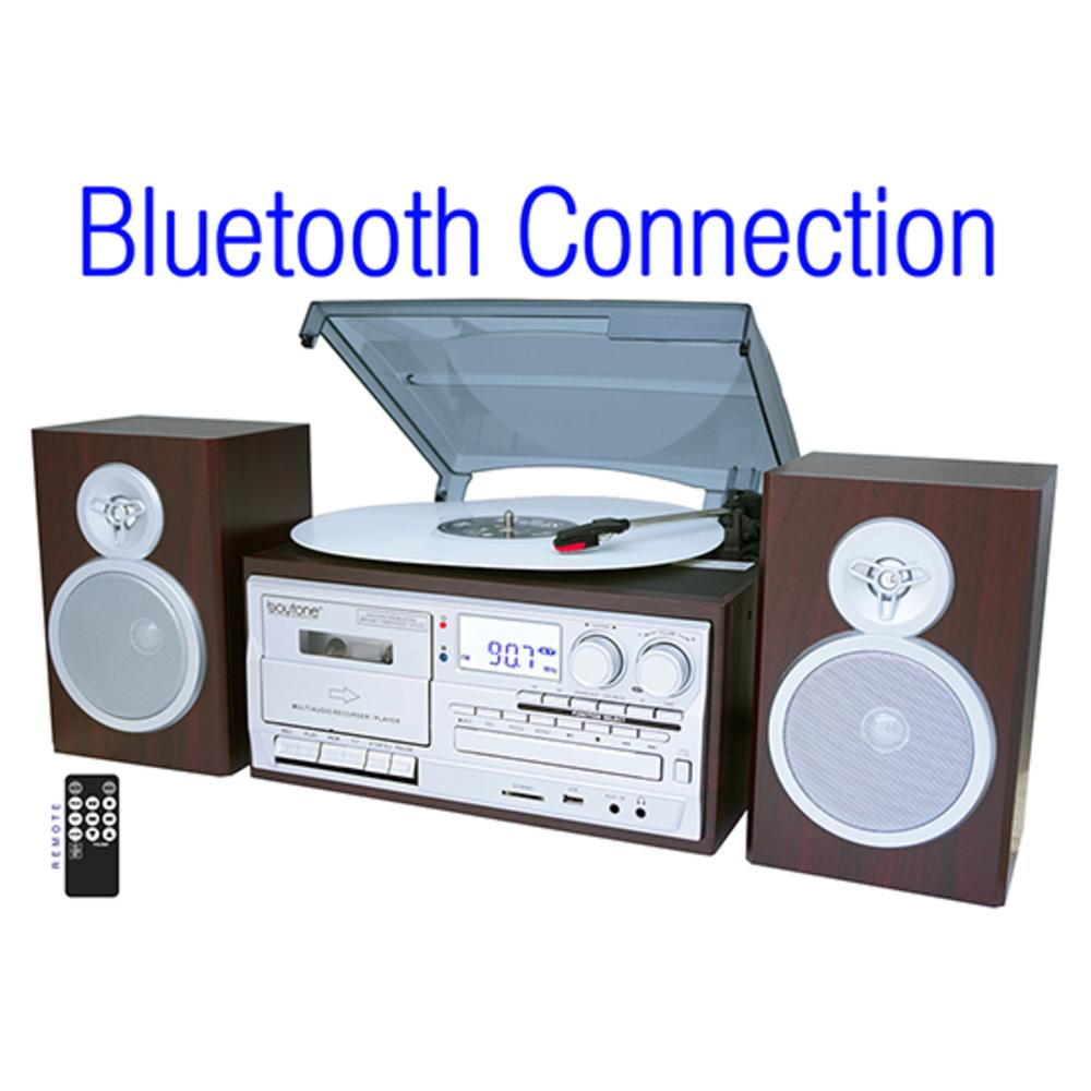 Boytone BT-28SPS, Bluetooth Classic Style Record Player Turntable with AM-FM Radio,