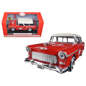 1955 Chevrolet Nomad Coca Cola with 2 bottle cases and metal handcart 1-24 Diecast Model Car  by Motorcity Classics