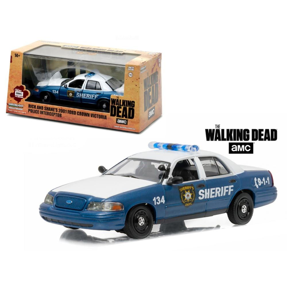 Rick and Shane\s 2001 Ford Crown Victoria Police Interceptor \The Walking Dead\ (2010-Current) TV Series 1-43 Diecast Model Car by Greenlight
