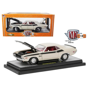 1970 Dodge Challenger T-A White with Flat Black Stripes 1-24 Diecast Model Car  by M2 Machines