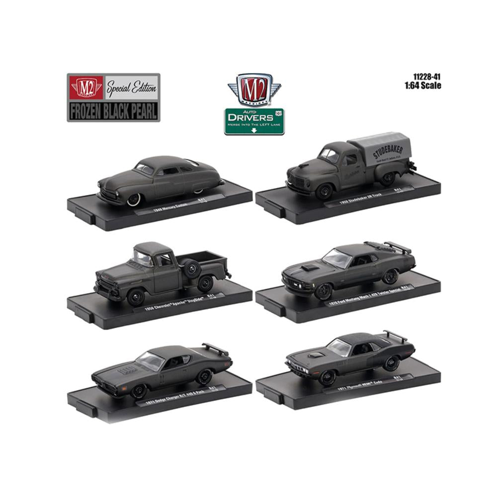 Drivers 6 Cars Set Release 41 \Special Edition\ Frozen Black Pearl In Blister Packs 1-64 Diecast Model Cars by M2 Machines