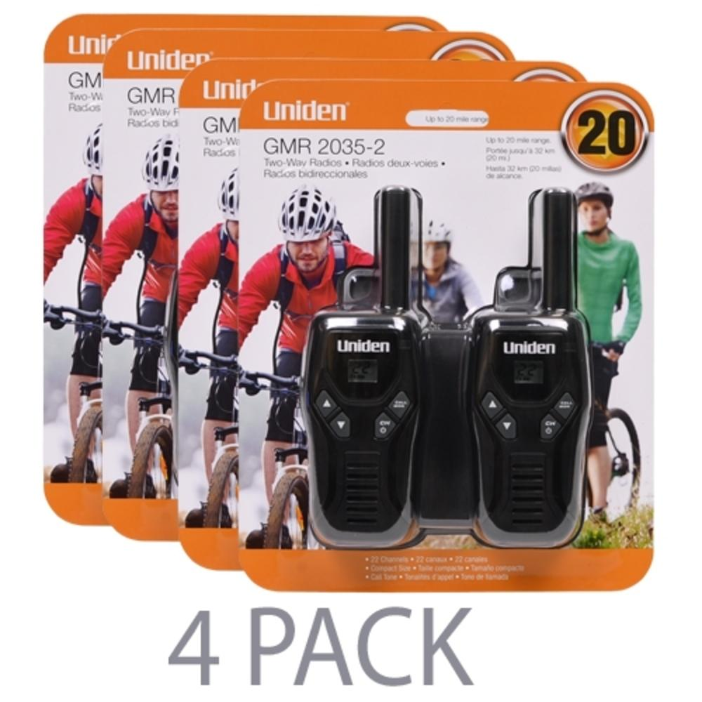 (4-Pack) Uniden GMR2035-2 22 Channel 20-Mile FRS-GMRS Two-Way Radio (Black) (2 Per Pack = 8 Total)