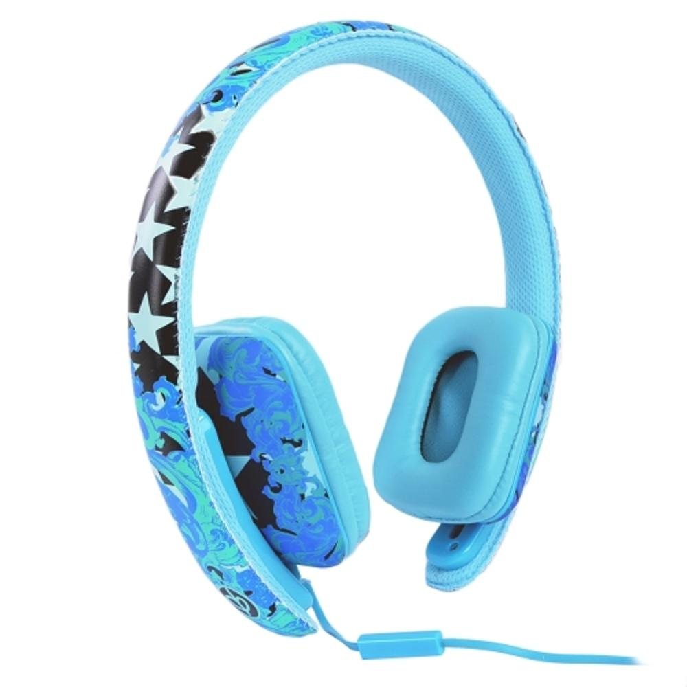 Ear Party Ch!c Buds Noise Cancelling Over-Ear Stereo Headphones w-Inline Mic, Tangle-Free Flat Cable & 3.5mm Plug (Blue)