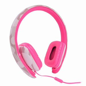 Ear Party Ch!c Buds Noise Cancelling Over-Ear Stereo Headphones w-Inline Mic, Tangle-Free Flat Cable & 3.5mm Plug (Pink)