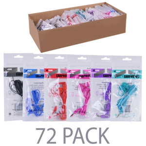 (72-Pack) Stereo Earbuds (12 x 6 Colors: Black, Red, Teal, Purple, Pink, Blue) - Retail Hanging Package
