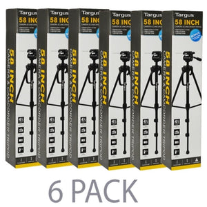 (6-Pack) 58 Targus Fluid Head Tripod w-3-Way Pan & Dual Bubble Level Indicator TGT-BK58T for Camera & Camcorder