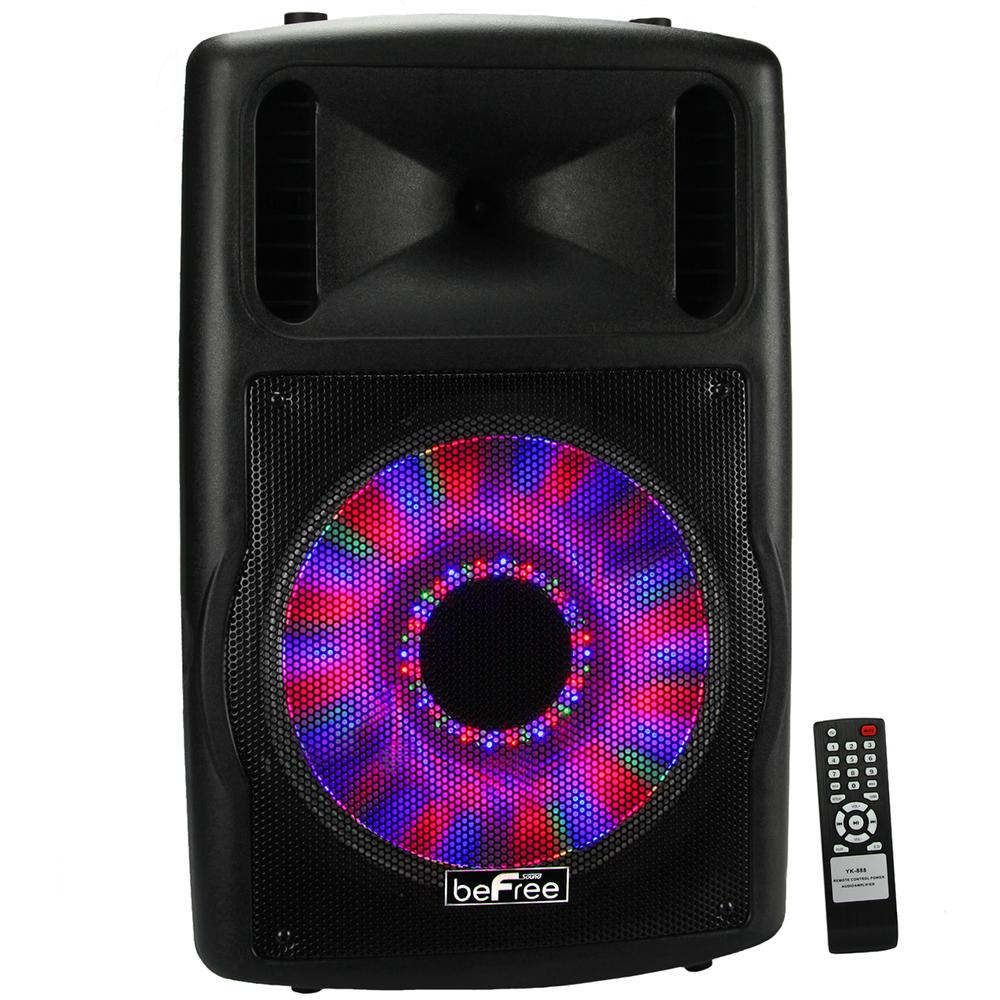 beFree Sound 12 Bluetooth Portable Speaker with Sound-Volume Reactive Lights USB and SD Inputs