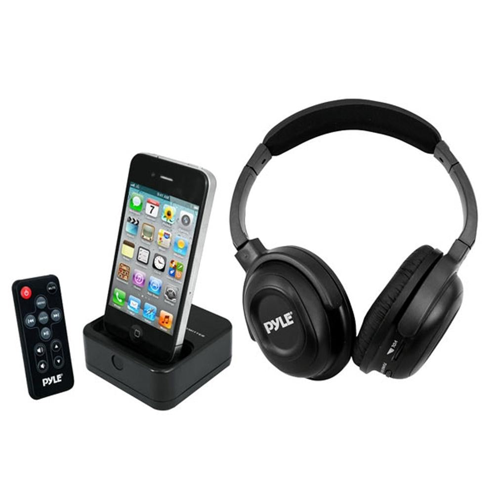 Pyle UHF Wireless Stereo Headphone with Wireless iPhone-iPod Dock Transmitter and RF Remote Control