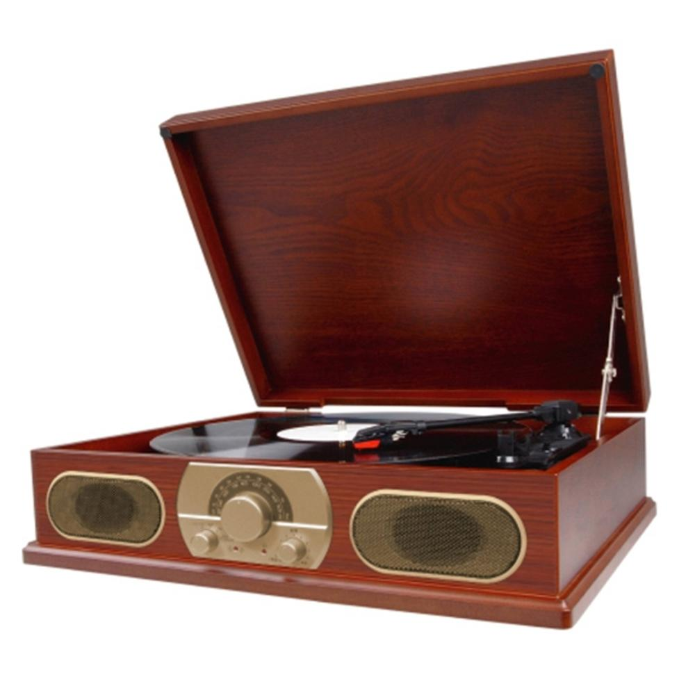 Studebaker Wooden Turntable with AM-FM Radio and Cassette Player