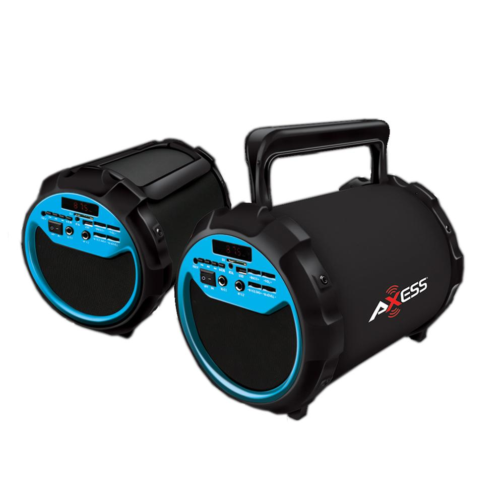 Axess Portable Bluetooth 2.1 Hi-Fi Loud Speaker w-Mic., SD,USB,AUX And FM, 6.5 Sub.-Blue