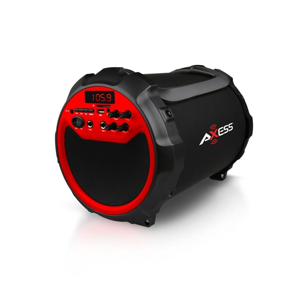 Axess Red Portable Indoor- Outdoor Bluetooth Cylinder 2.1 Speaker with 6-inch Subwoofer and 3-inch Horn