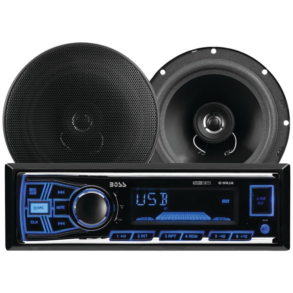 Boss Audio Systems 636CK Single-DIN In-Dash Mechless AM-FM Receiver System with Speakers