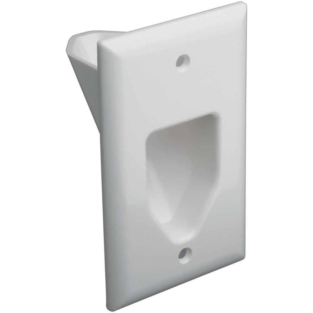DataComm Electronics 45-0001-WH 1-Gang Recessed Cable Plate (White)