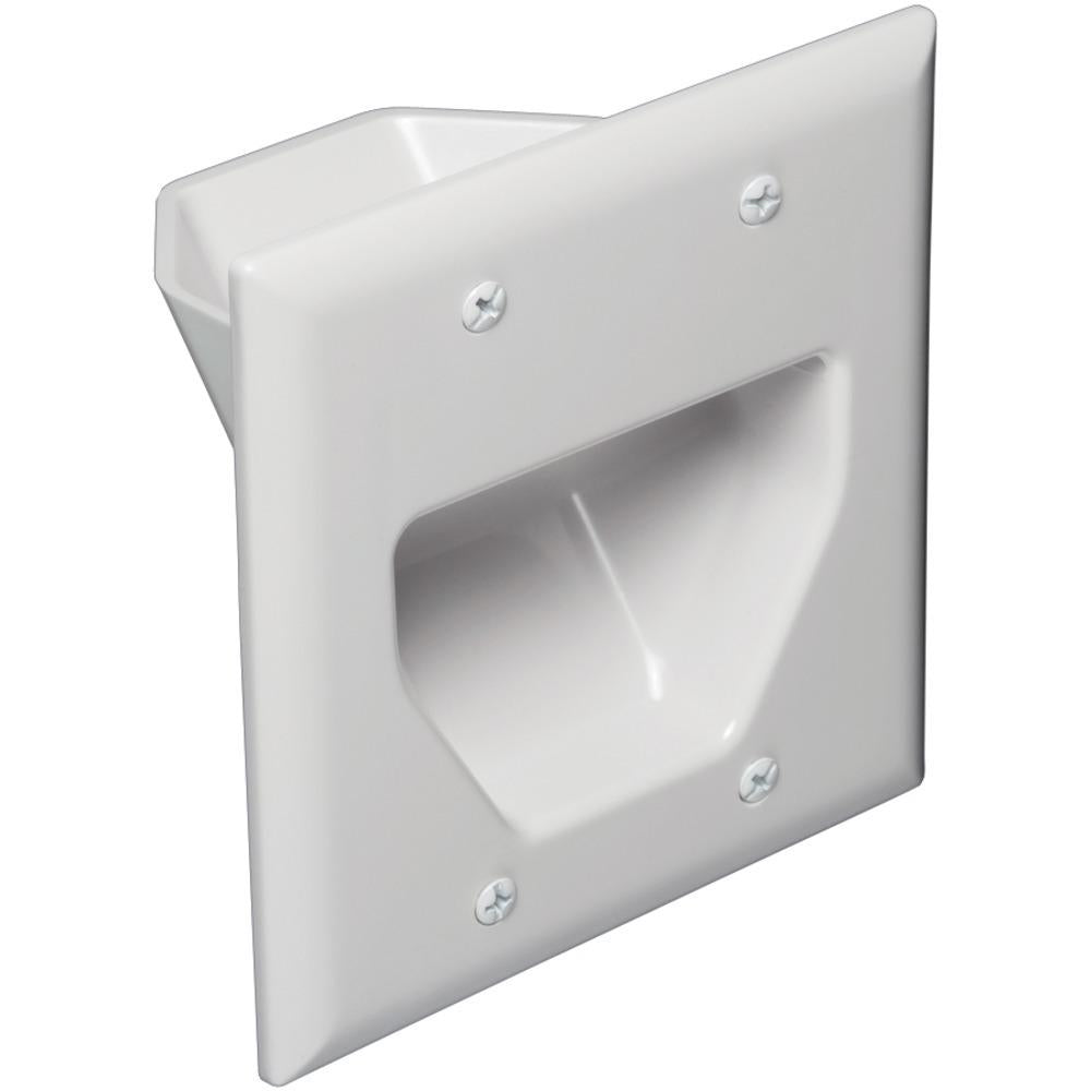DataComm Electronics 45-0002-WH 2-Gang Recessed Cable Plate (White)