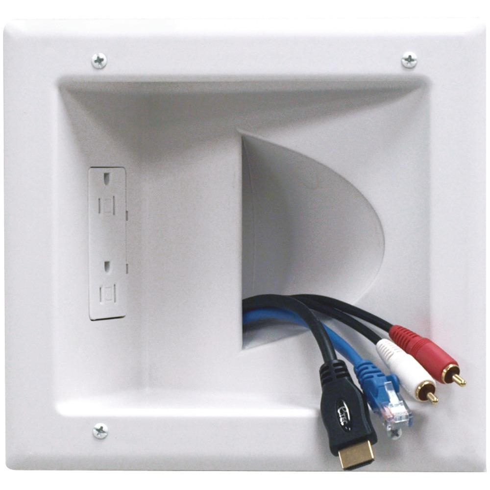 DataComm Electronics 45-0031-WH Recessed Low-Voltage Media Plate with Duplex Receptacle