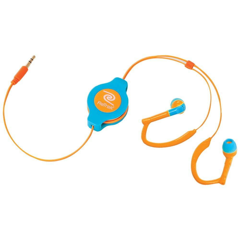 ReTrak(R) ETAUDWBUOR Retractable Sports Wrap Earbuds (Neon Blue-Orange)