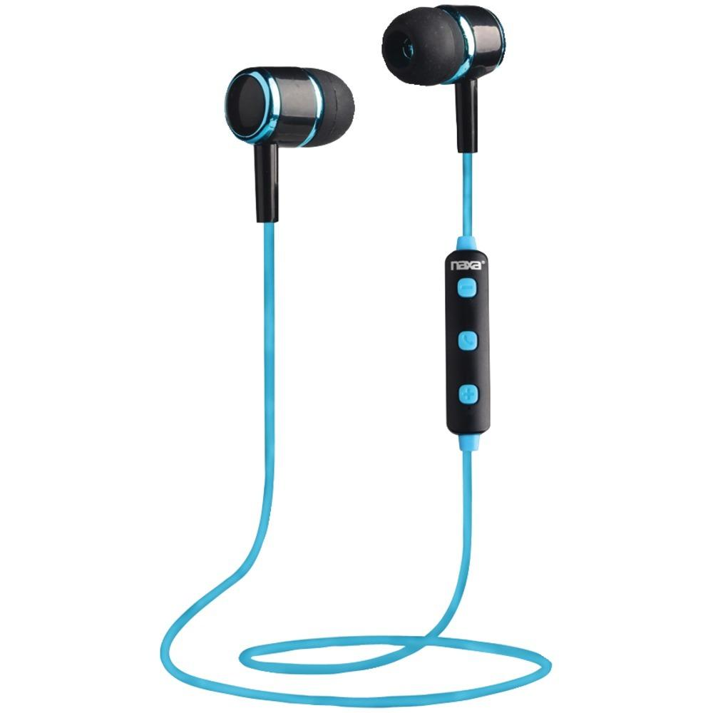 Naxa(R) NE-950 BLACK-BLUE Bluetooth(R) Isolation Earbuds with Microphone & Remote (Blue)