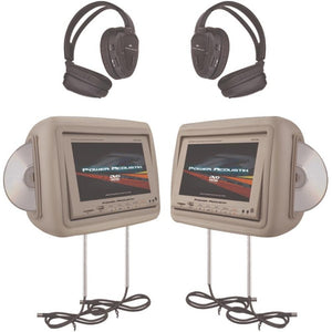 Power Acoustik(R) HDVD-9BG 8.8 Universal Headrest Monitors with Twin DVD Player Combo, IR & FM Transmitters & 2 Pairs of Headphones (Beige)