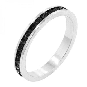 Stylish Stackables With Jet Black Crystal Ring (size: 06) R01147R-V03-06