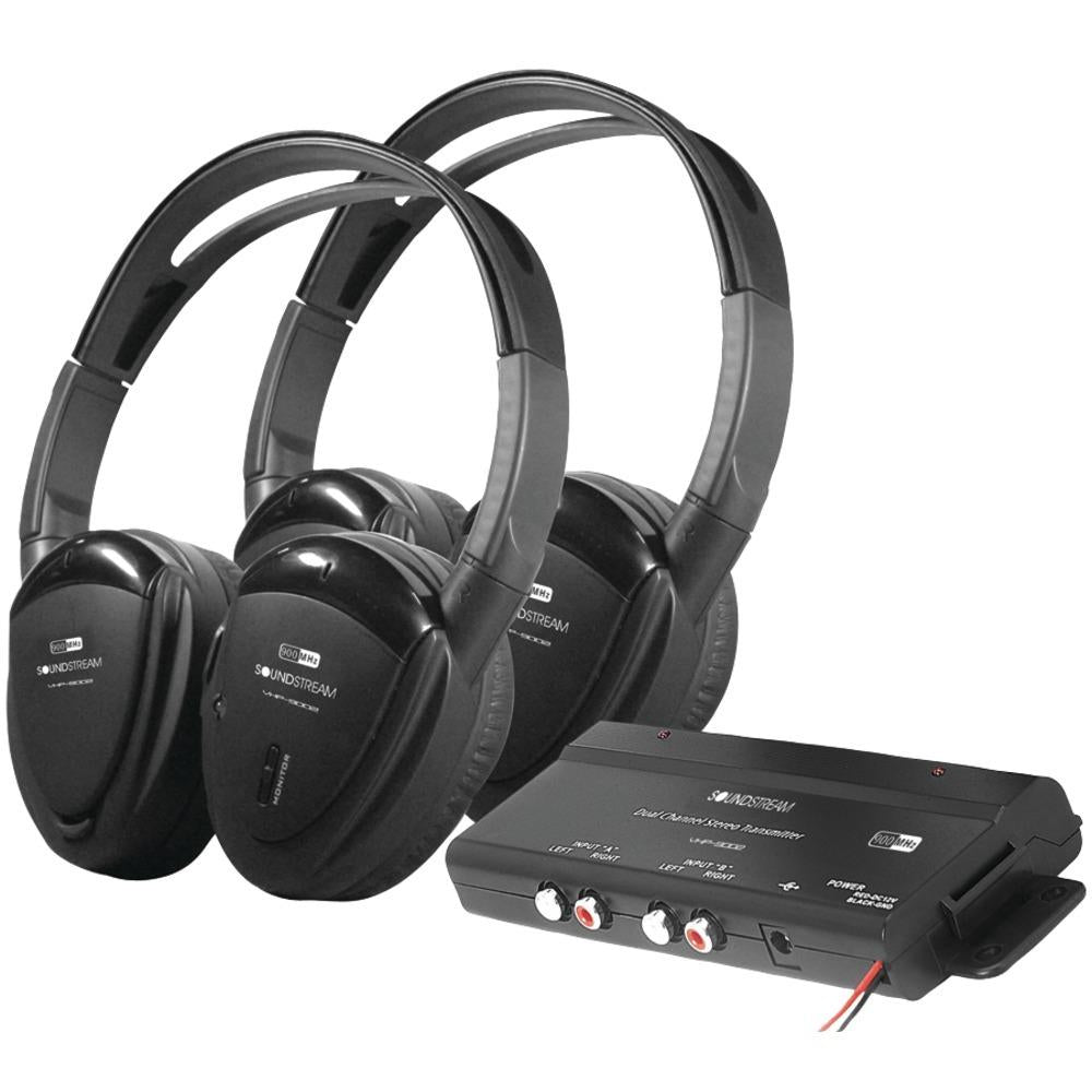 Power Acoustik 2 Sets Of 2-channel Rf 900mhz Wireless Headphones With Transmitter POWHP902RFT