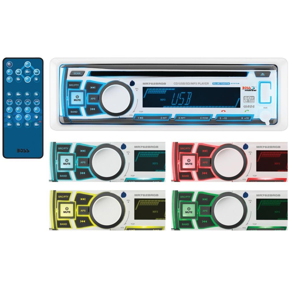Boss Audio Marine Single-din In-dash Cd Am And Fm Receiver With Bluetooth, Rgb Illumination & Wireless App Control BOSMR762BRGB