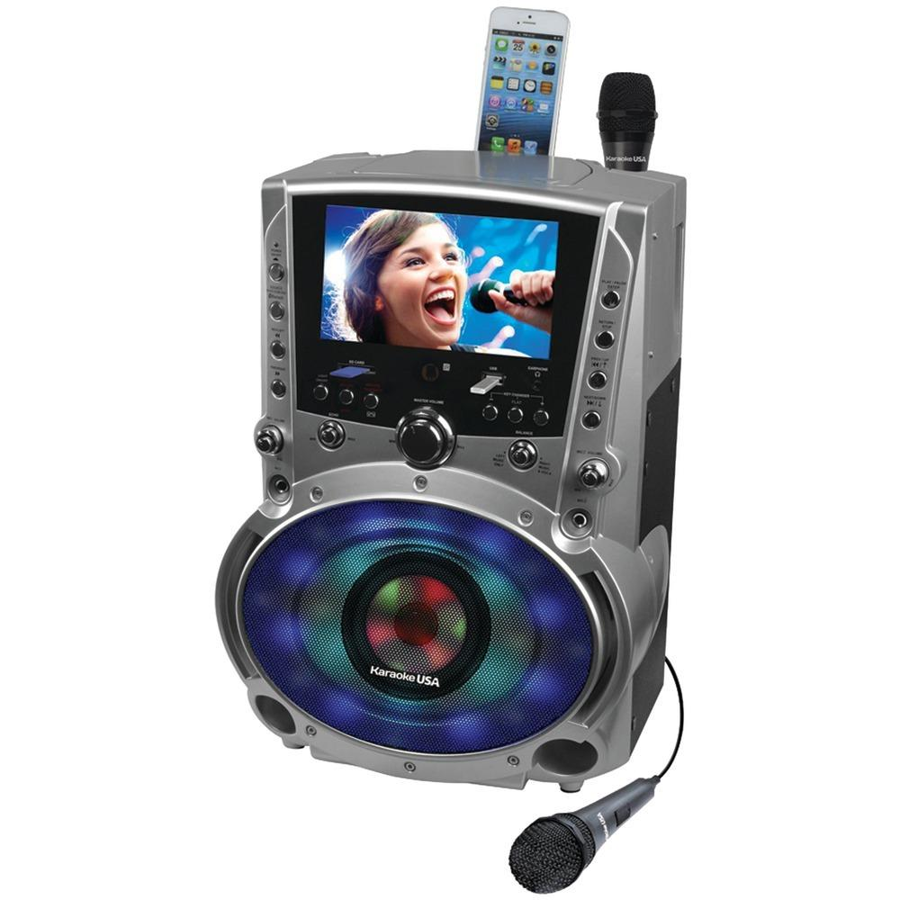 "Karaoke Usa Dvd And Cd+g And Mp3+g Bluetooth Karaoke System With 7"" Tft Color Screen & Led Sync Lights JSKGF758"