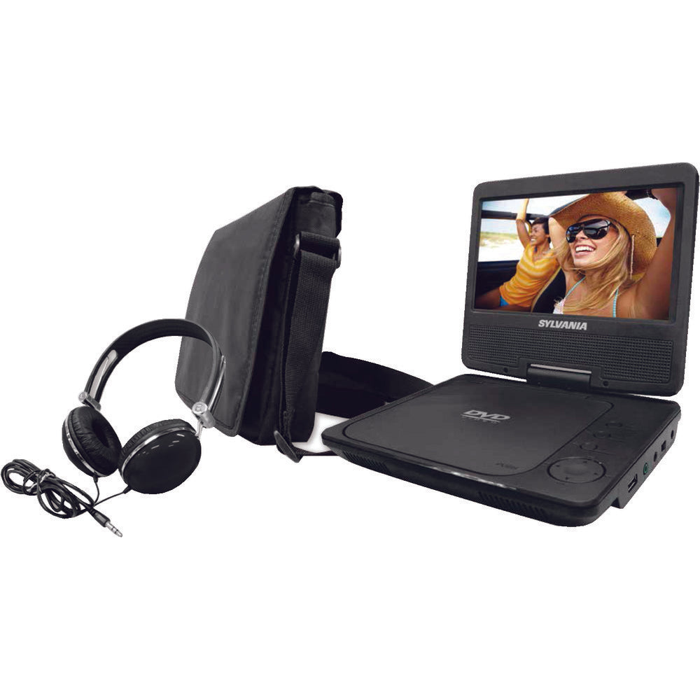 "Sylvania 9"" Swivel-screen Portable Dvd Player With Carry Bag & Headphones CURSDVD9060B"