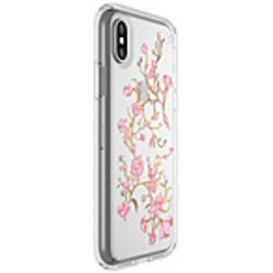Speck Presidio Clear + Print Case - iPhone X - Golden Blossoms Pink, Clear - Embedded - Polycarbonate, Impactium - 96 Drop Height
