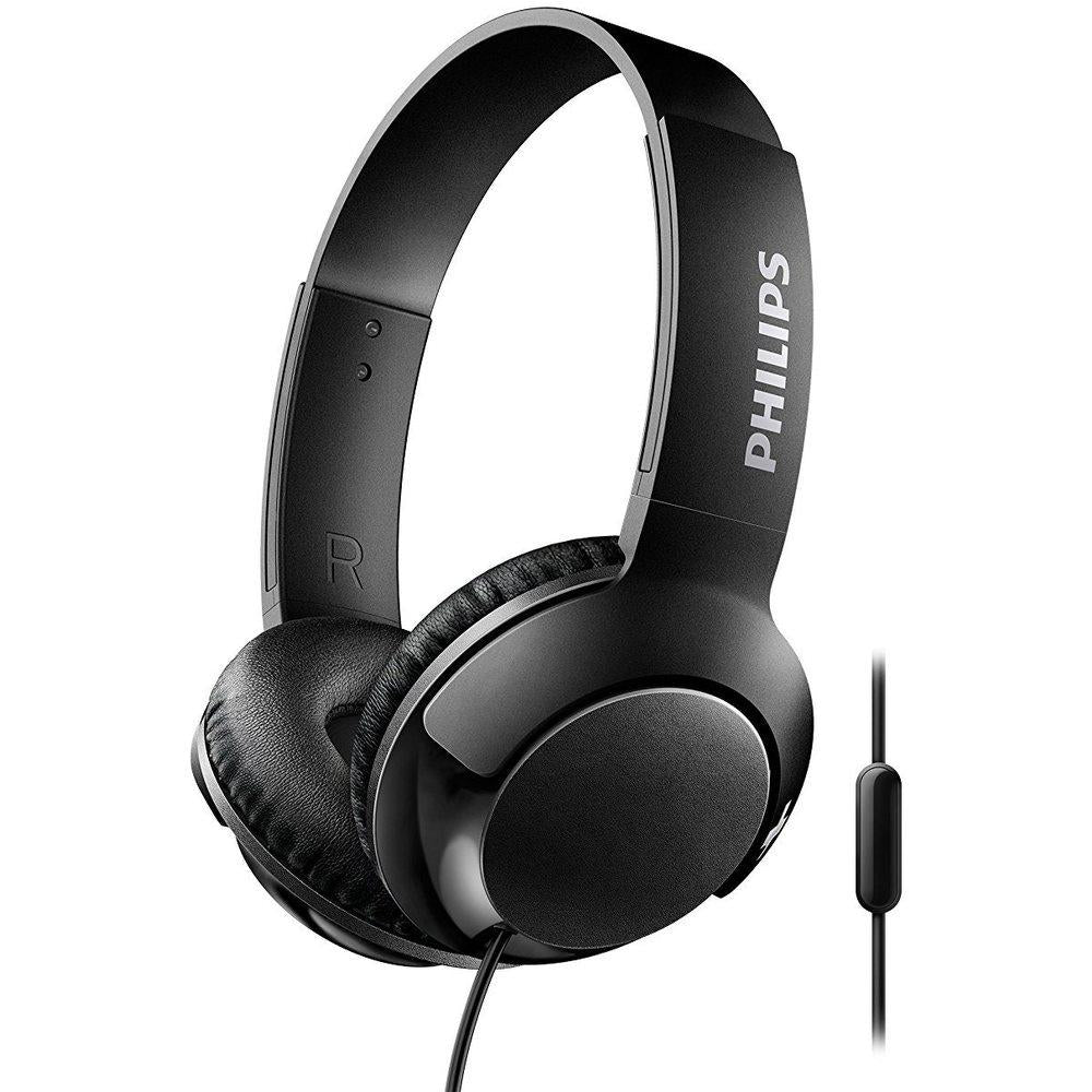 Philips SHL3075BK BASS+ Wired On-Ear Headphones with Microphone - Black