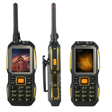M2 Dual SIM UHF Walkie Talkie wireless free PTT external FM power bank Facebook Rugged big sound 3D speaker cell phone P156