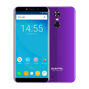"Oukitel C8 18:9 Aspect Ratio Mobile Phone 5.5""HD Quad Core 1.3GHZ 2GB/16GB ROM 13MP Android 7.0 3000mAh Rear Touch ID Smartphone"