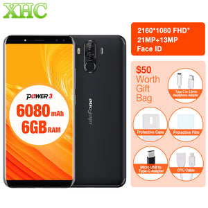 "Ulefone Power 3 6.0""18:9 Full Screen Smartphone 6080mAh 6GB 64GB Octa Core Face ID 21MP OTG 5V 3A Fast Charge Dual SIM Cellphone"