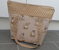 Beige Rabbit Polka Dot Tote Shopper Bag Gift
