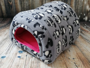 Grey Panda Fleece Piggie Shelter/ Cerise Lining