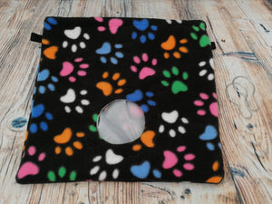 Black Multi Paws Fleece Hay Bag With Clips