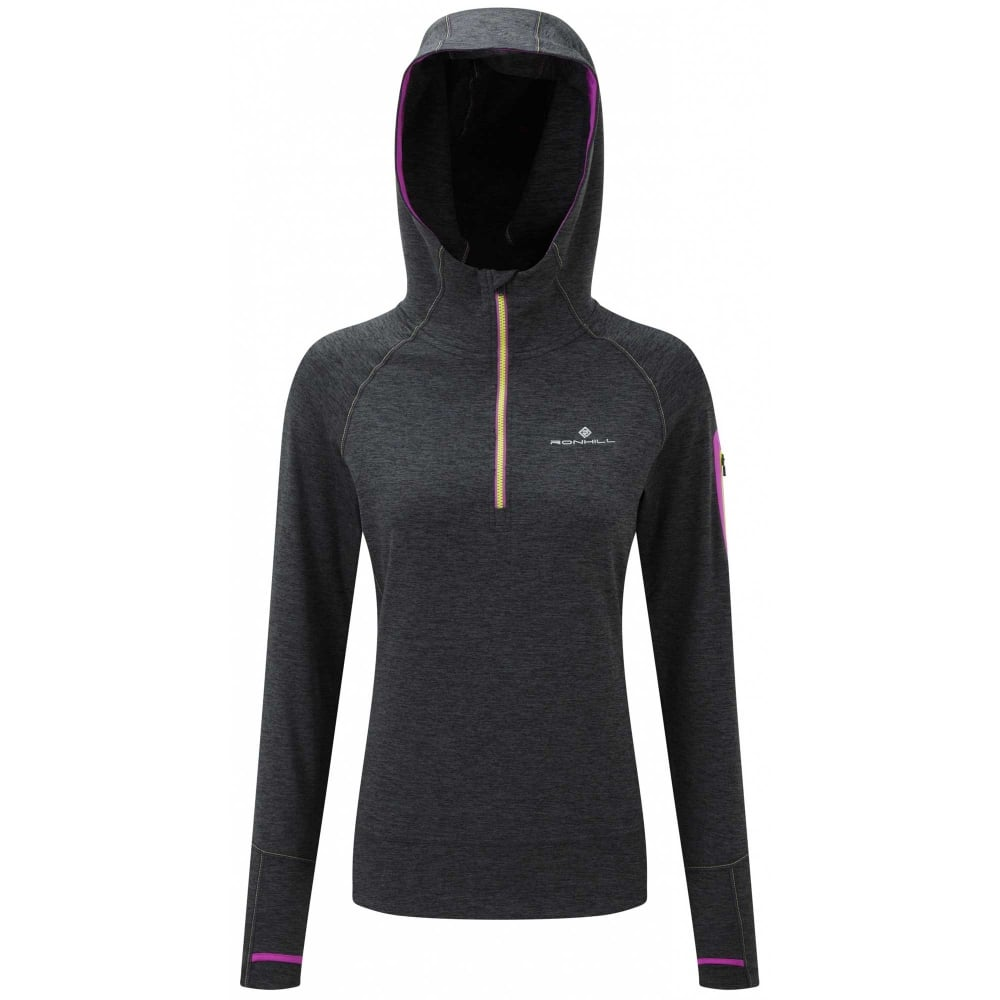 Ron Hill Victory Running Hoody Womens Grey/Blue Jogging Hoodie Shirt Fitness Fitness & Jogging