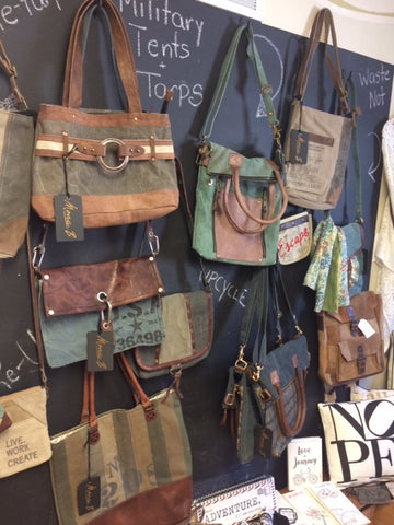 upcycled military tarps into bags