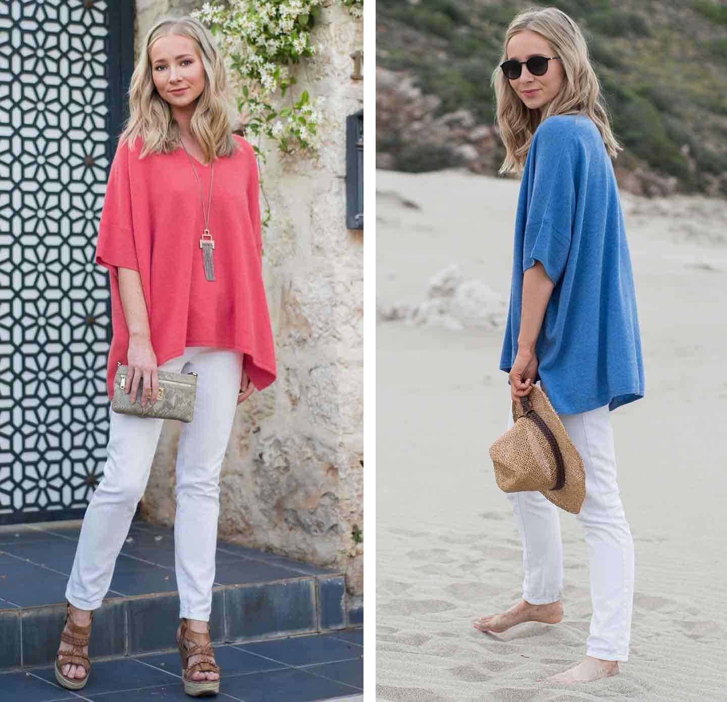 One-woman-standing-infront-of-a-blue-door-on-a-step-wearing-a-pink-cashmere-jumper-with-white-jeans-wedges-and-handbag-and-another-image-of-a-woman-on-a-beach-in-blue-kimono-jumper-