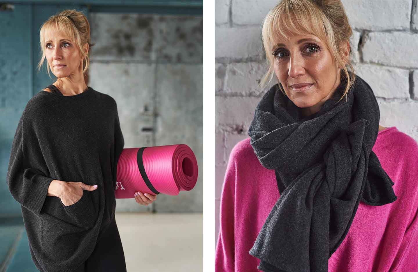 Women standing in a grey oversized charcoal poncho with hand in pocket carrying a pink yoga mat and women standing against white brick wall in pink cashmere jumper with grey cashmere wrap wrapped around neck