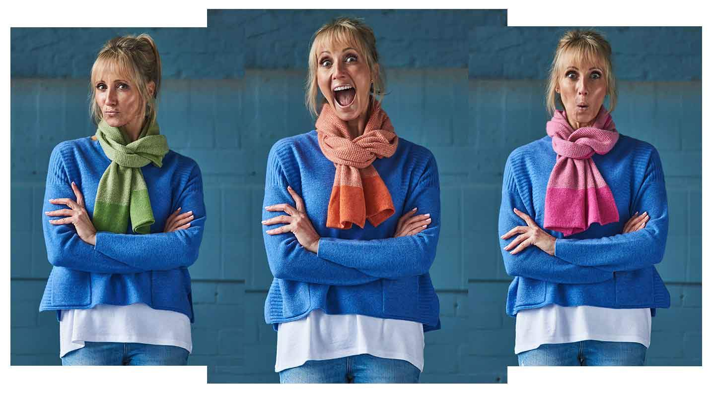 a-woman-in-a-blue-cashmere-jumper-with-arms-folded-posing-for-three-photos-with-different-colour-scarves