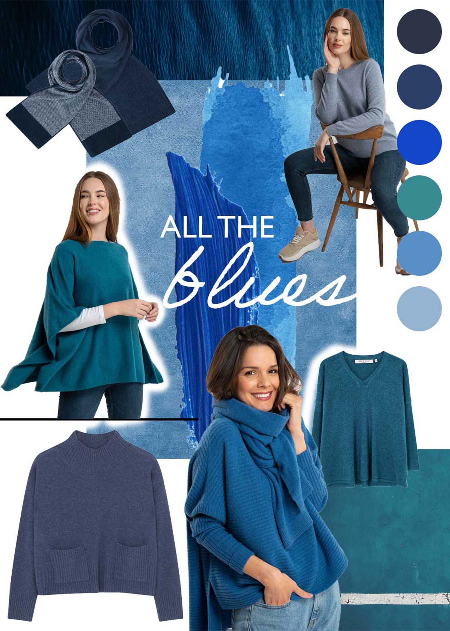 all the blues cashmere and cotton product montage